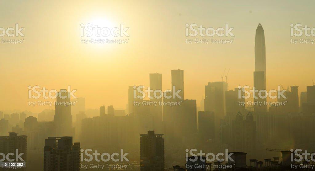 Shenzhen city skyline in China stock photo