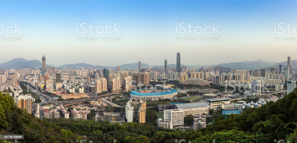 Shenzhen city skyline stock photo