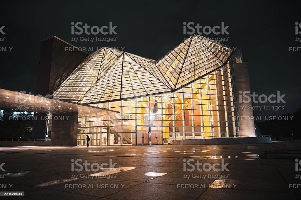 Shenzhen concert hall at night stock photo