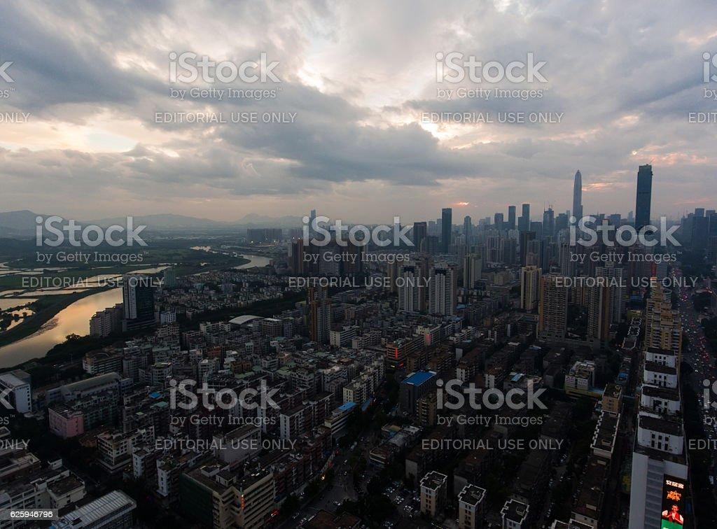 Shenzhen skyline at twilight time. stock photo