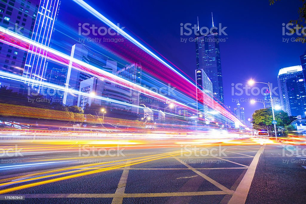 Shenzhen, traffic at night stock photo
