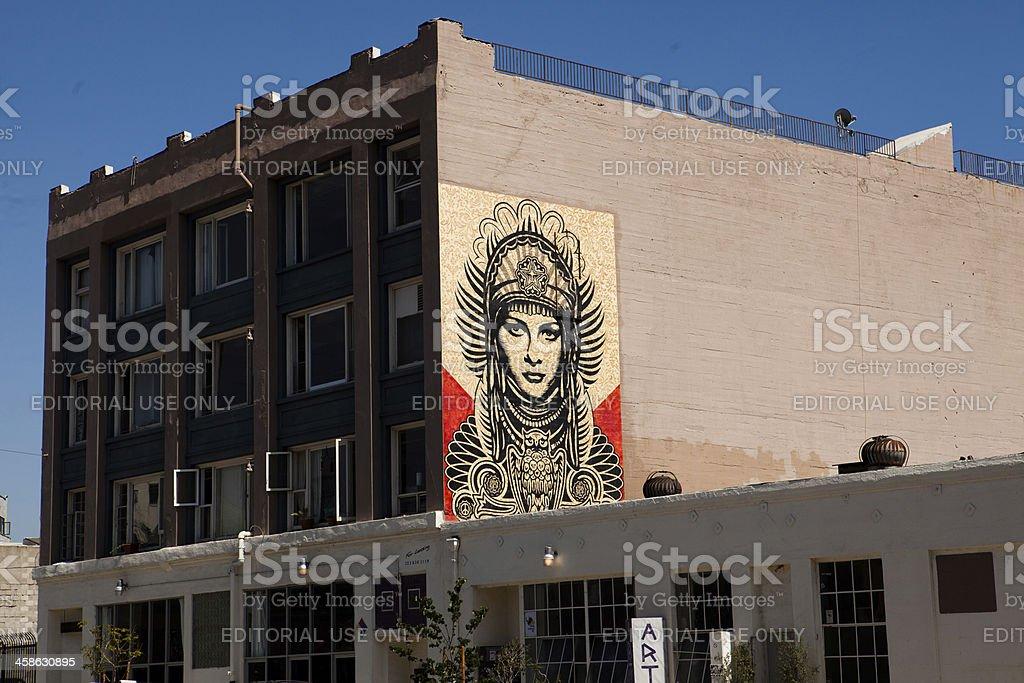 Shepard Fairey building mural stock photo