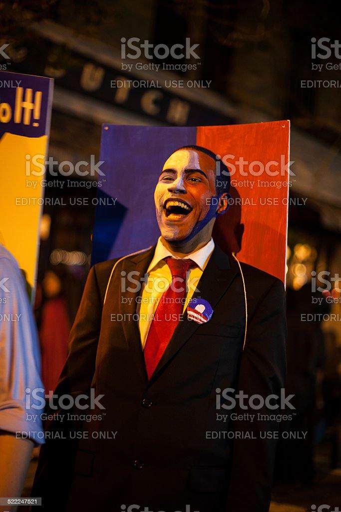 Shepard Fairey's Barack Obama Hope poster costume. Halloween 2014 stock photo
