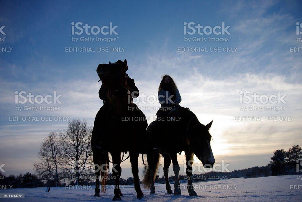 Sheperds on horse stock photo