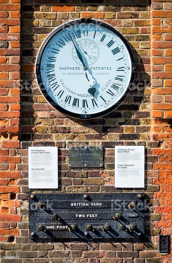 Shepherd 24-Hour Gate Clock at Greenwich stock photo