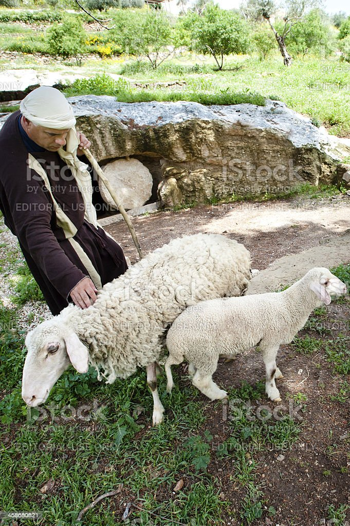 Shepherd at Nazareth Village stock photo