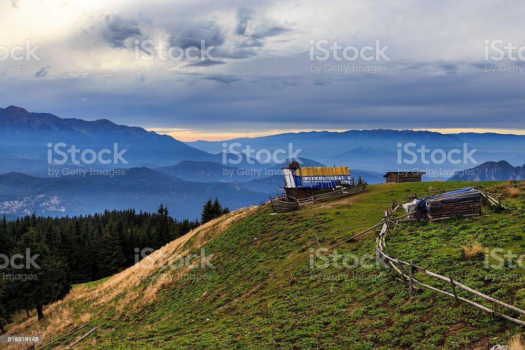 Shepherd cottage in mountains stock photo