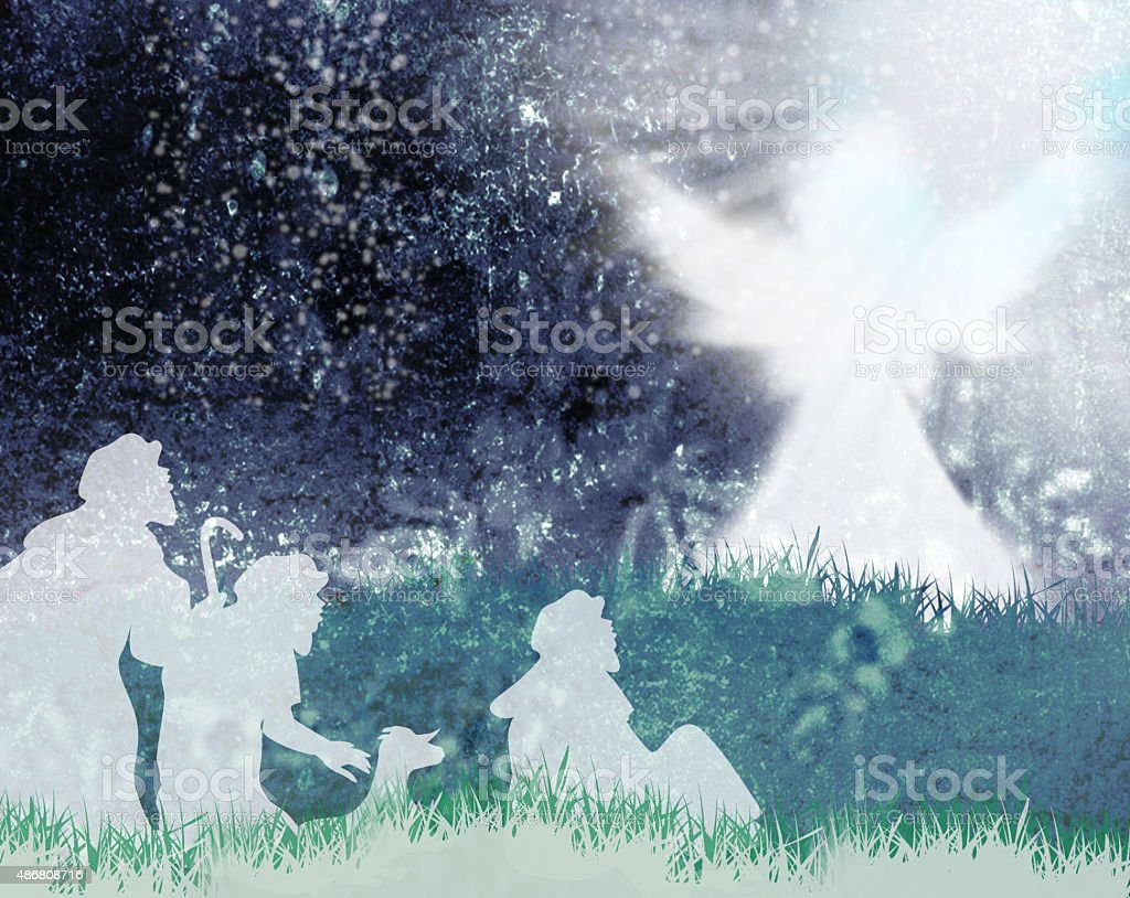 Shepherds and angel silhouette stock photo