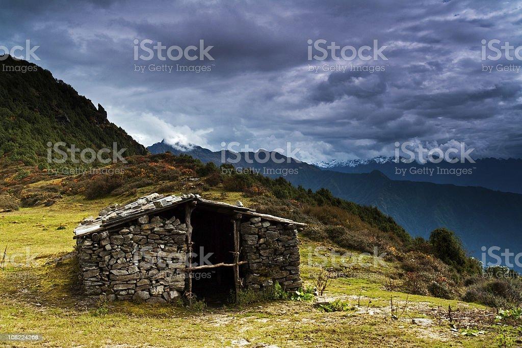 Shepherd's hut in Himalaya Range royalty-free stock photo