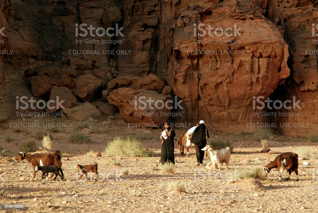 Shepherds in Wadi Rum desert, Jordan stock photo