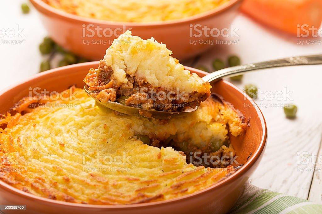 Shepherd's pie with potato stock photo