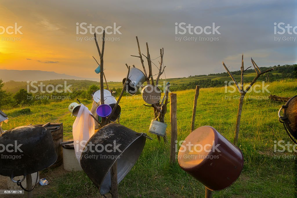 Shepherd's Pots and Pans in the Carpathian Mountains stock photo