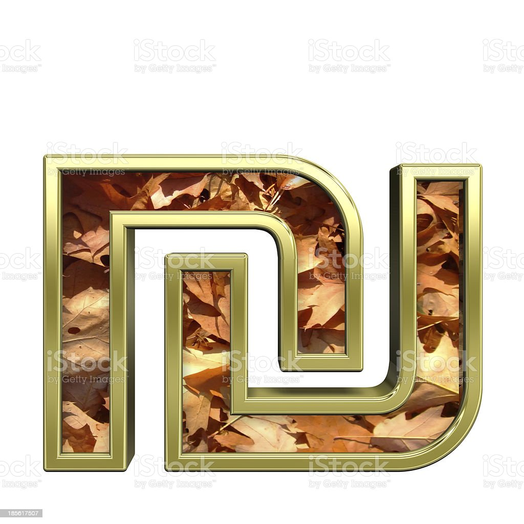 Sheqel sign from autumn gold alphabet set stock photo