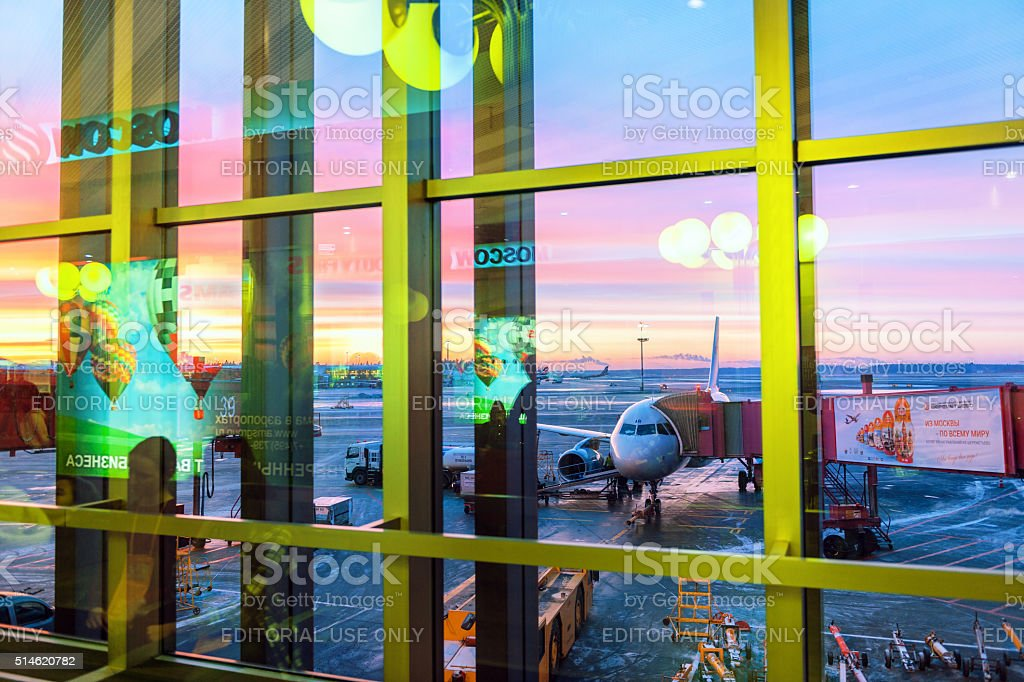 Sheremetyevo International Airport, sunset, reflection, winter, commercials Moscow, Russia. stock photo