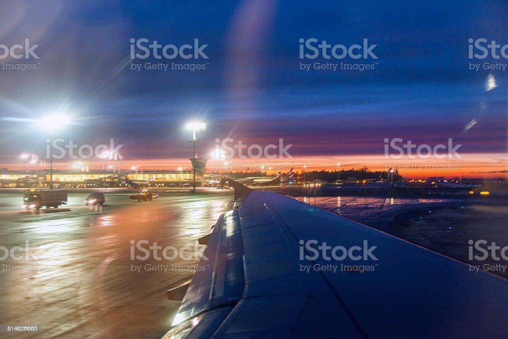 Sheremetyevo International Airport, sunset, reflection, winter, wing, Moscow, Russia. stock photo