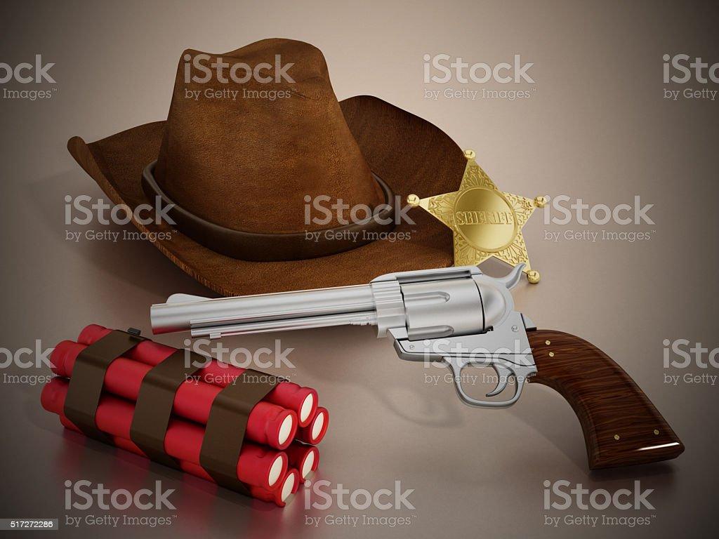 Sheriff badge, cowboy hat, revolver and dynamite stock photo