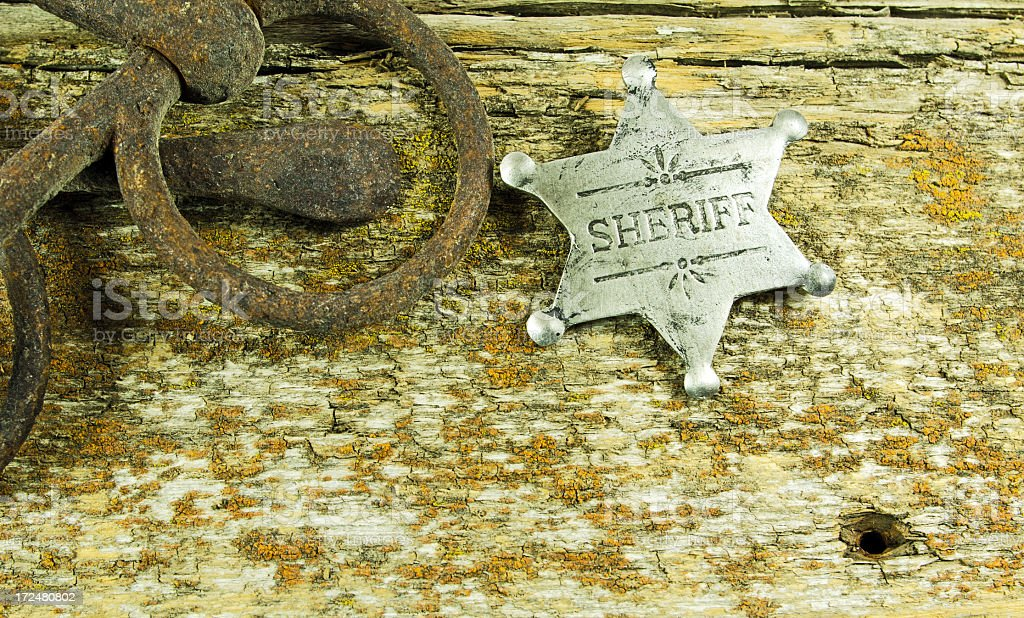 Sheriff Badge on Barn Board royalty-free stock photo