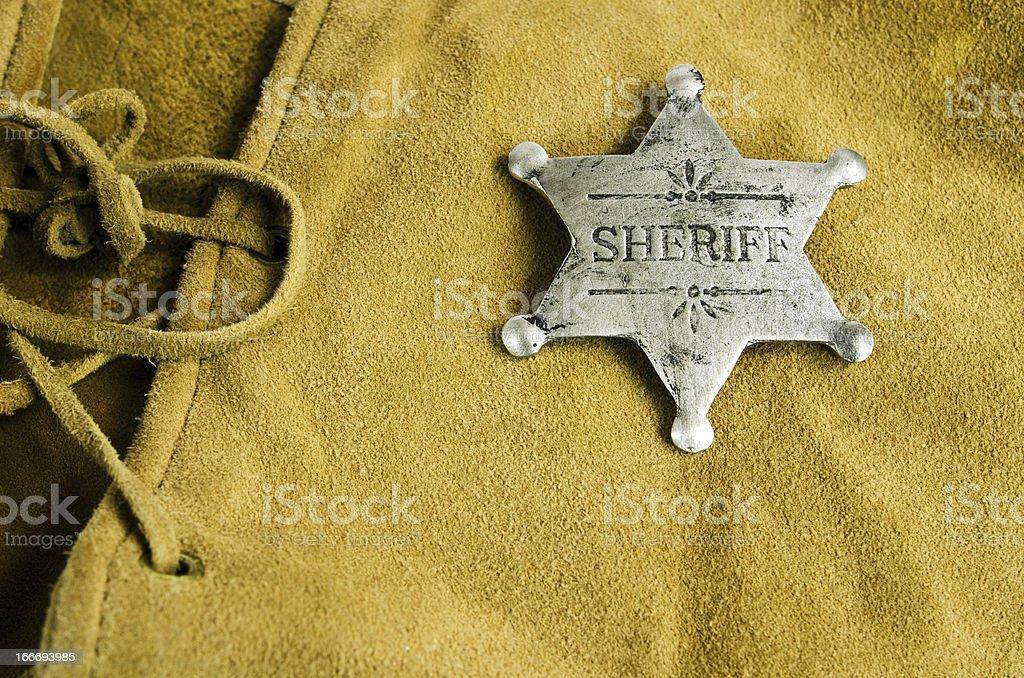 Sheriff Badge on Leather royalty-free stock photo