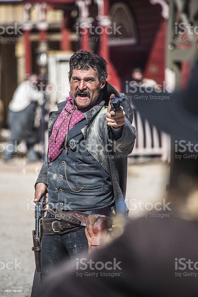 Sheriff Duels Bandit in Town stock photo