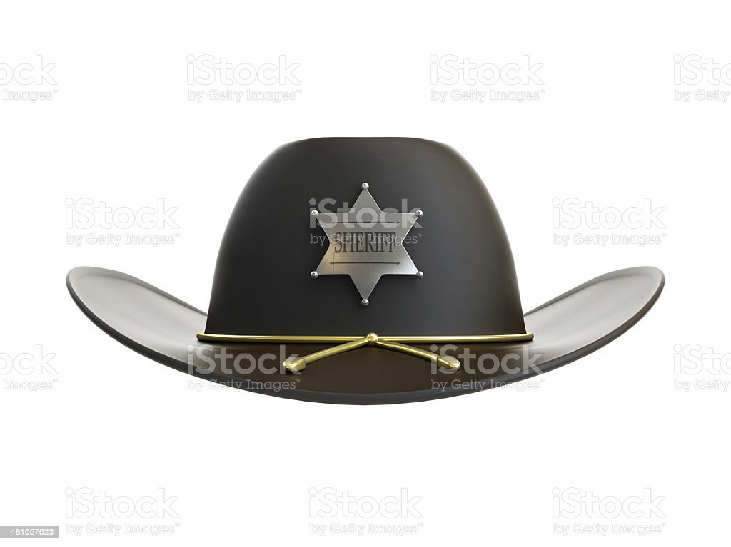 sheriff hat on a white background stock photo