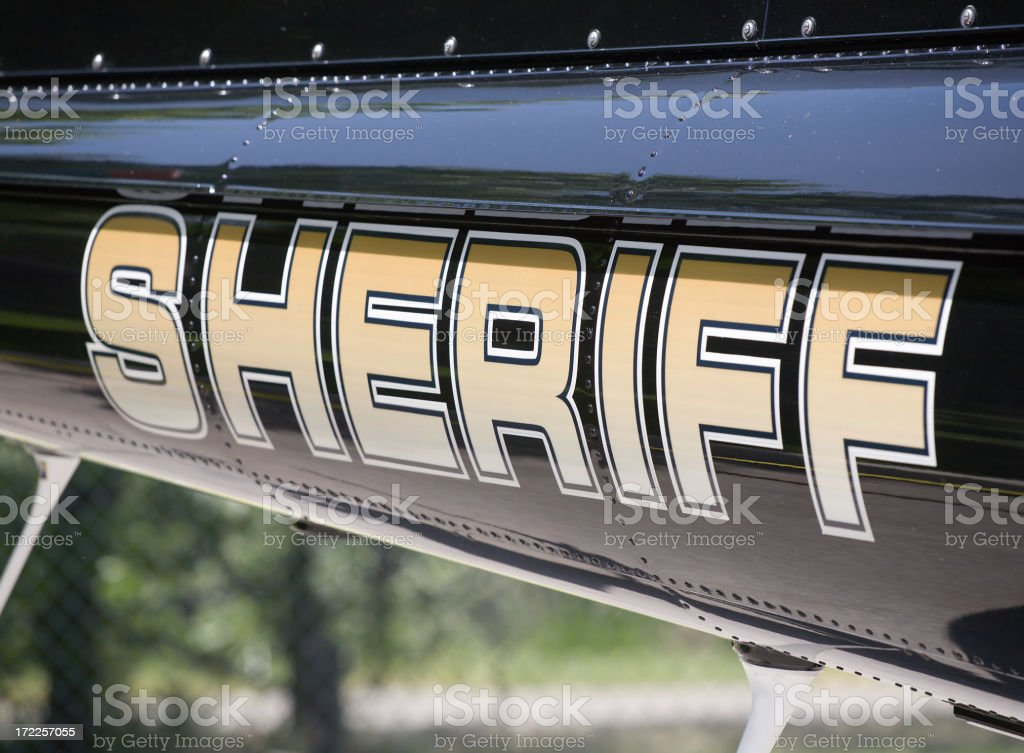 Sheriff Lettering on a Helicopter stock photo