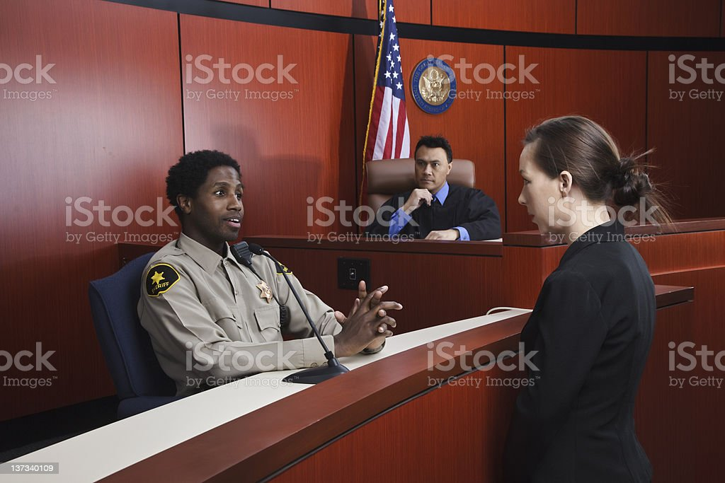 Sheriff Testifies in Courtroom stock photo