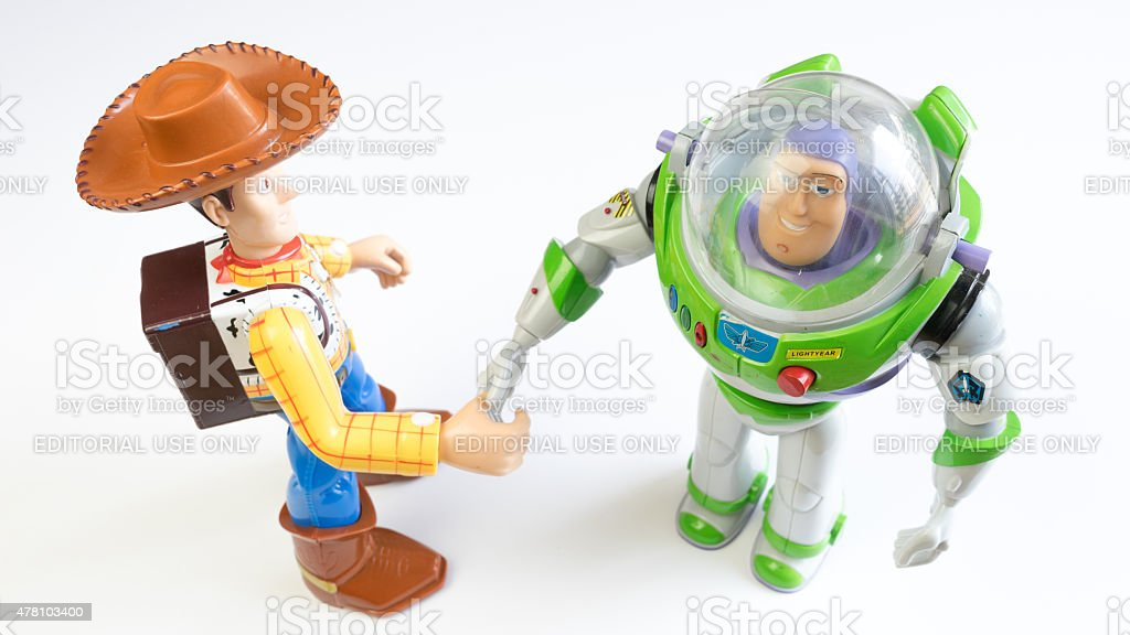 Sheriff Woody and Buzz Lightyear character from Toy Story stock photo