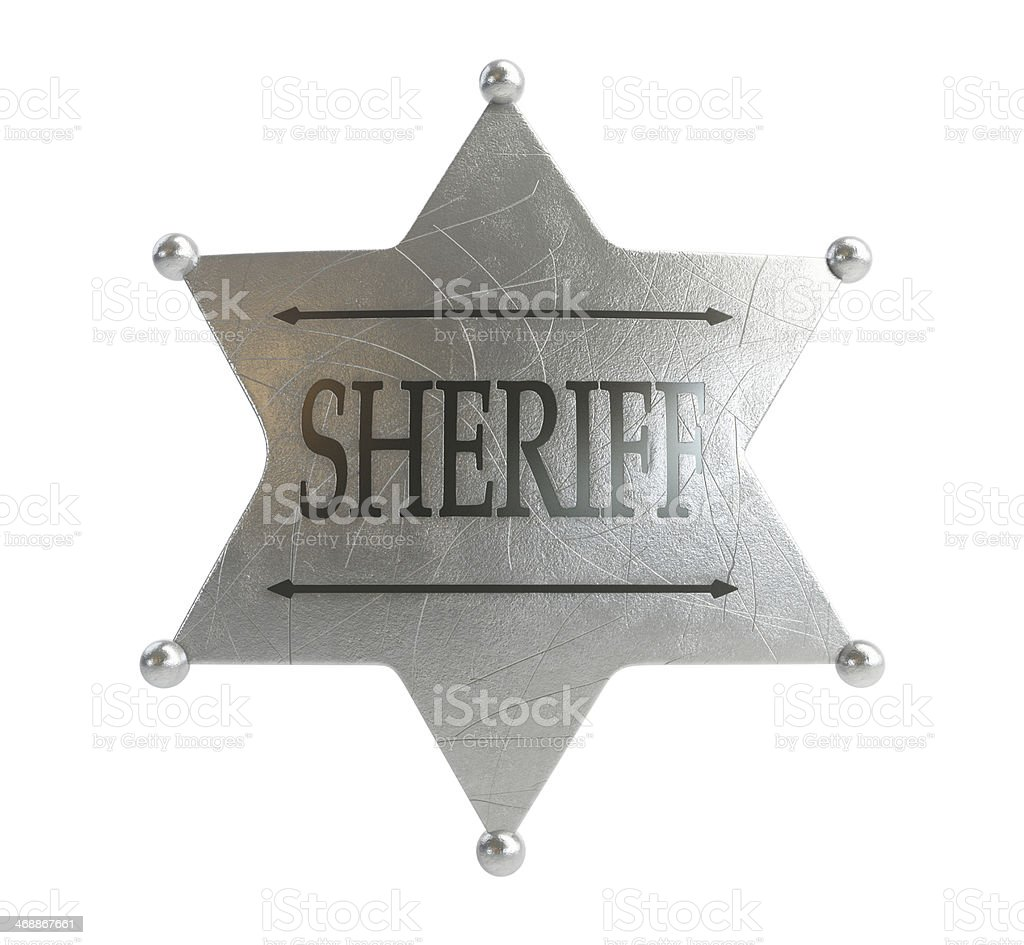 sheriff's badge on a white background stock photo