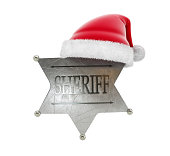 sheriff's badge santa hat 3d Illustrations on a white background