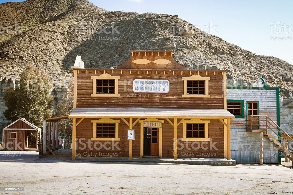 A sheriffs building in a Wild West town stock photo