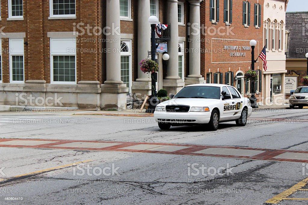 Sheriff's Deputy Vehicle on Main Street in Harrodsburg, Kentucky stock photo