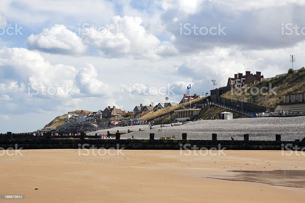 Sheringham beach on a low tided day stock photo