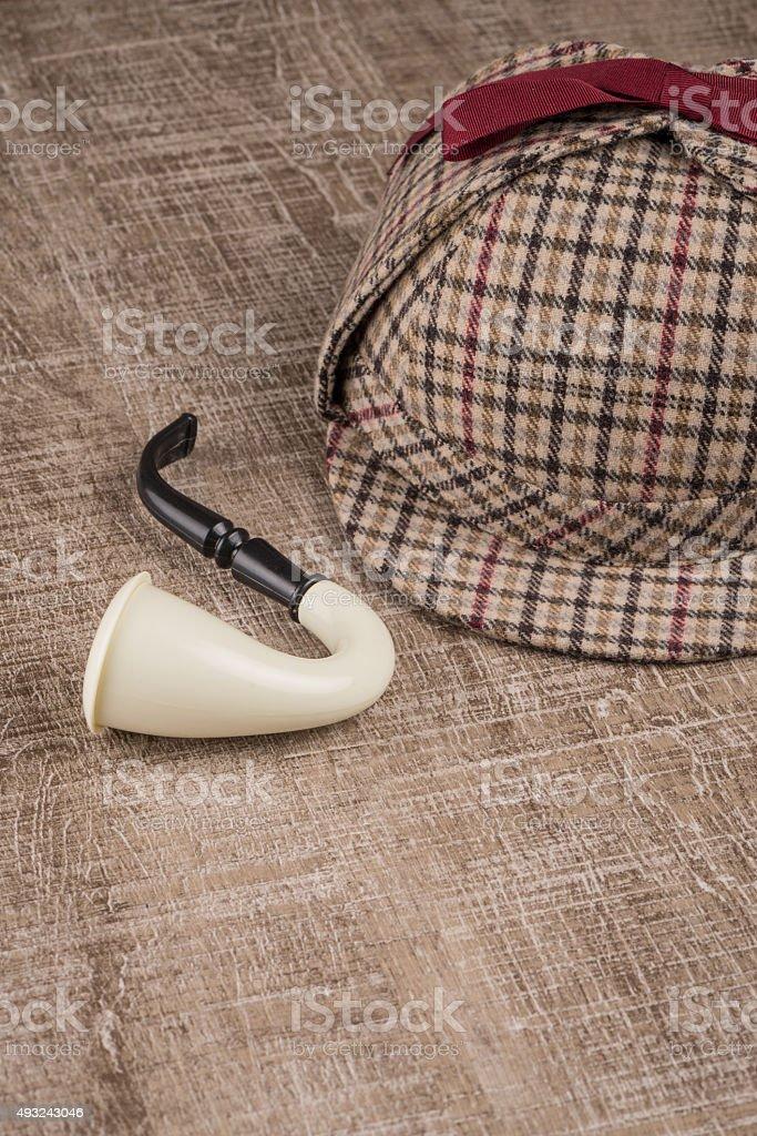 Sherlock Hat and Tobacco pipe stock photo
