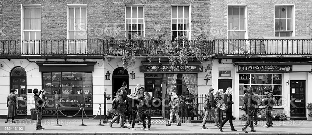 Sherlock Holmes' house, 221b Baker Street, London (black and white) stock photo