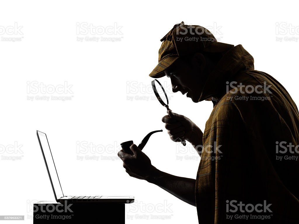 sherlock holmes laptop computer silhouette stock photo