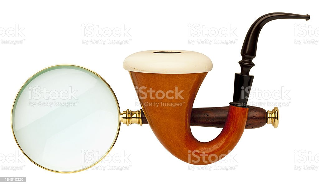 Sherlock Holmes Pipe & Magnifying Glass on White Background. stock photo