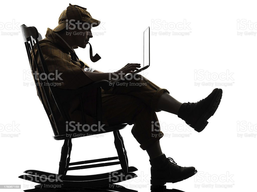 sherlock holmes silhouette computing stock photo