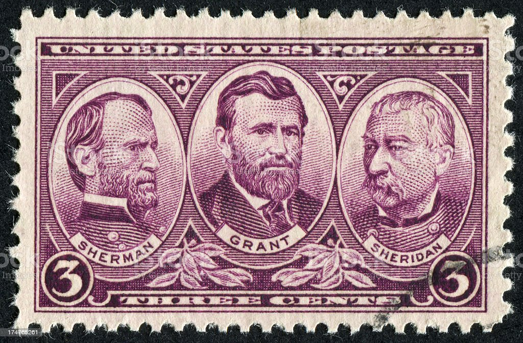 Sherman, Grant, And Sheridan Stamp royalty-free stock photo