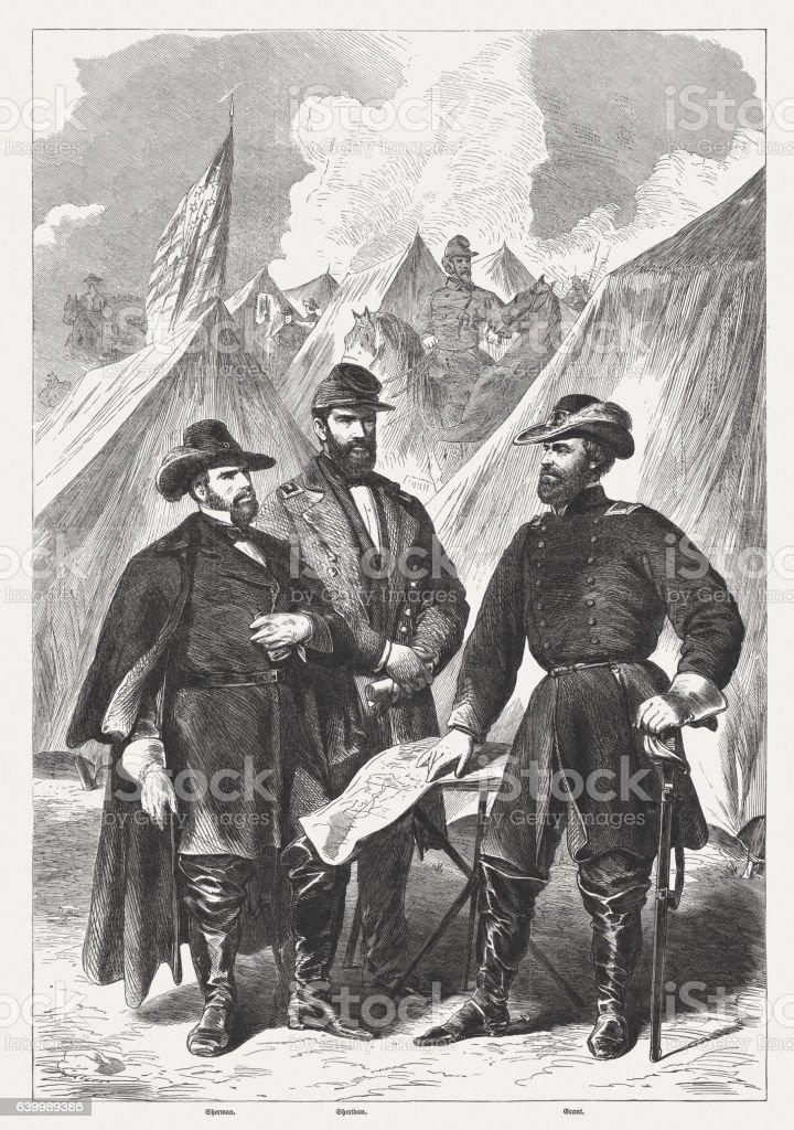 Sherman, Sheridan, Grant, Military leaders during the American Civil War stock photo