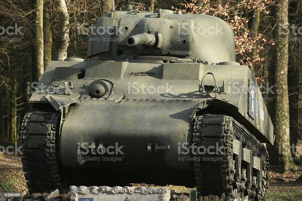 Sherman Tank in Forest royalty-free stock photo