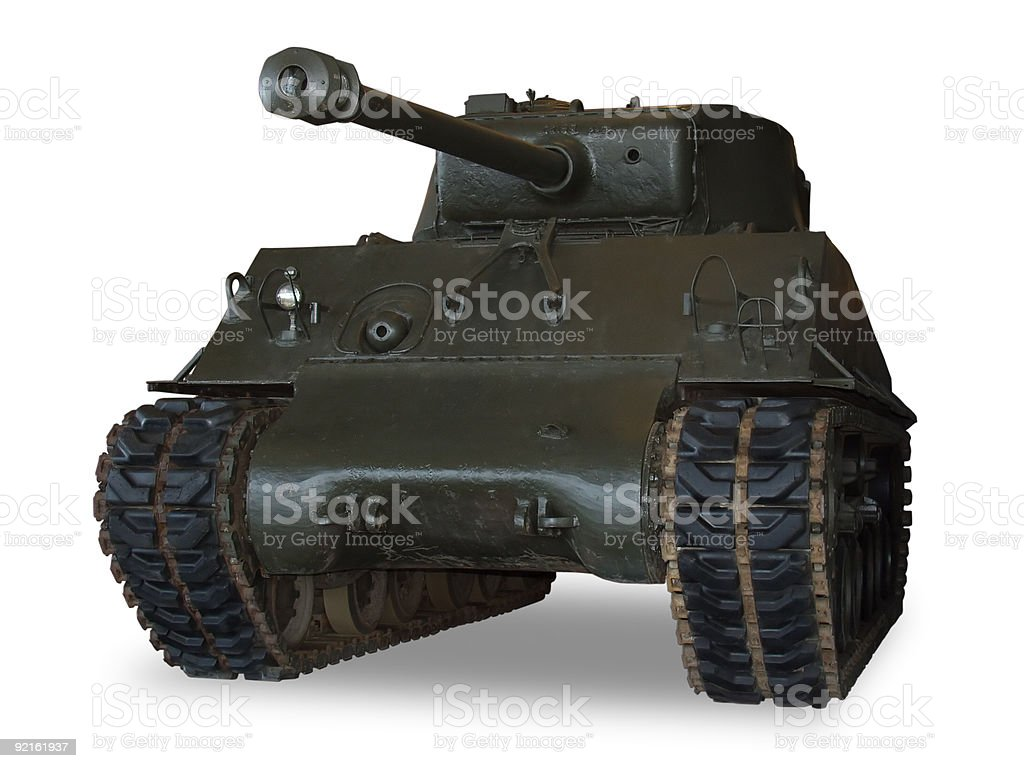 M4 Sherman Tank on White stock photo