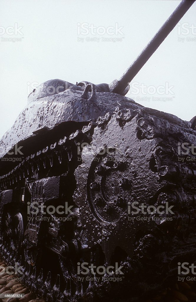Sherman Tank,Slapton Village stock photo