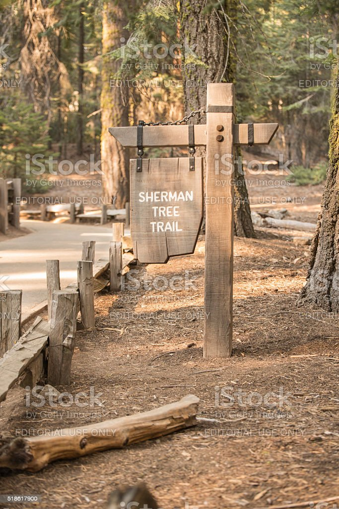 Sherman Tree Trail Sign at Sequoia royalty-free stock photo