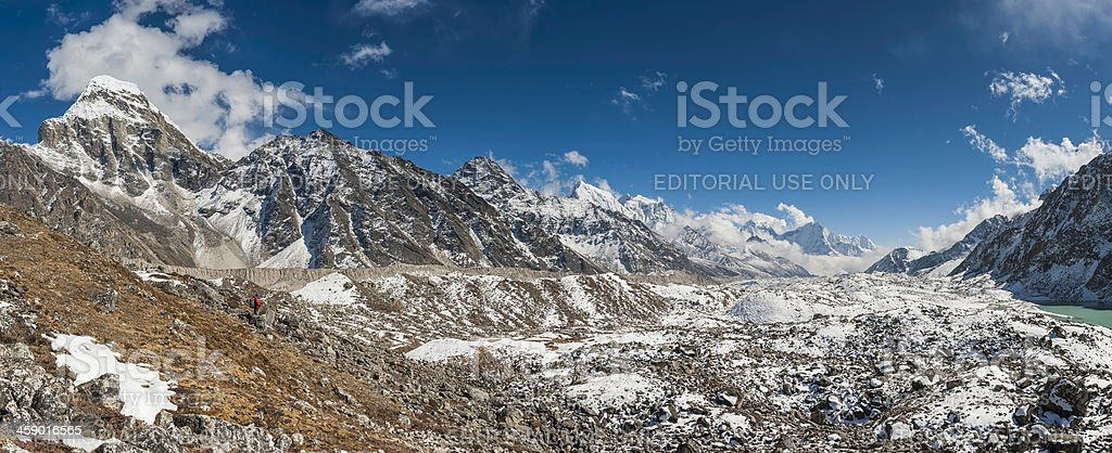 Sherpa guide looking down Gokyo Valley Himalayas Nepal royalty-free stock photo