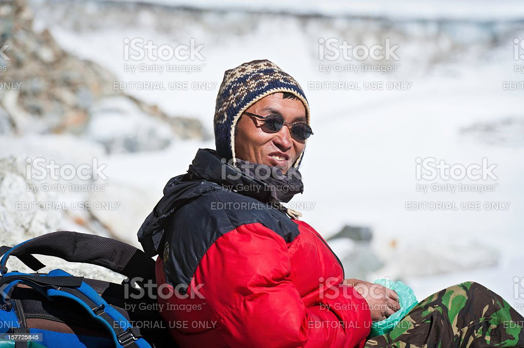 Sherpa guide smiling Himalayas Nepal stock photo