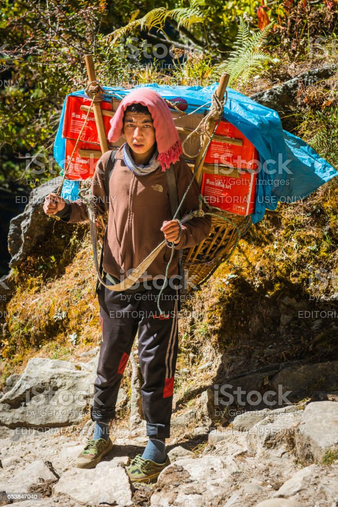 Sherpa porter carrying beer along Himalaya mountain trail Khumbu Nepal stock photo