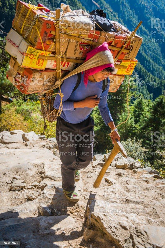 Sherpa porter using traditional bamboo basket Himalayan mountain trail Nepal stock photo
