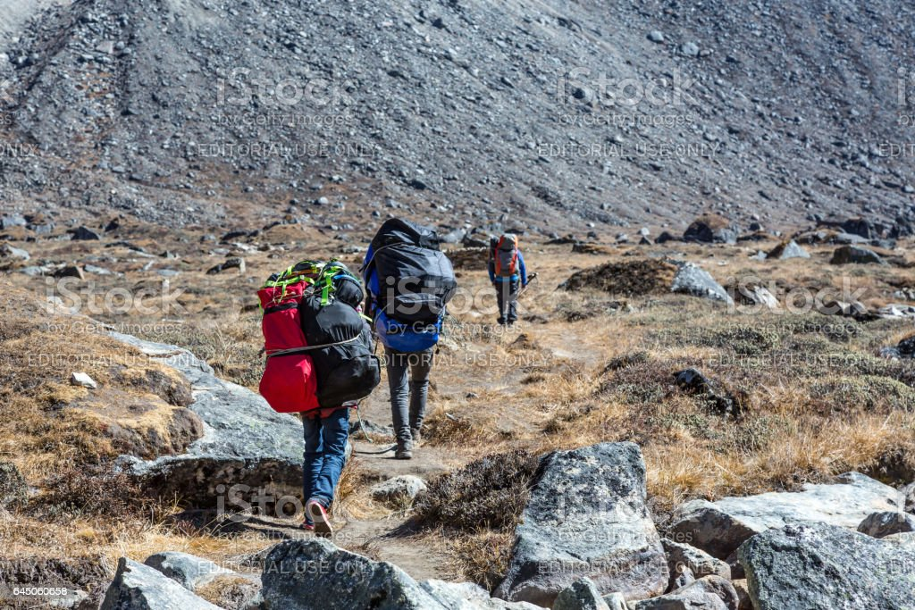 Sherpa Porters carrying lots of heavy luggage stock photo