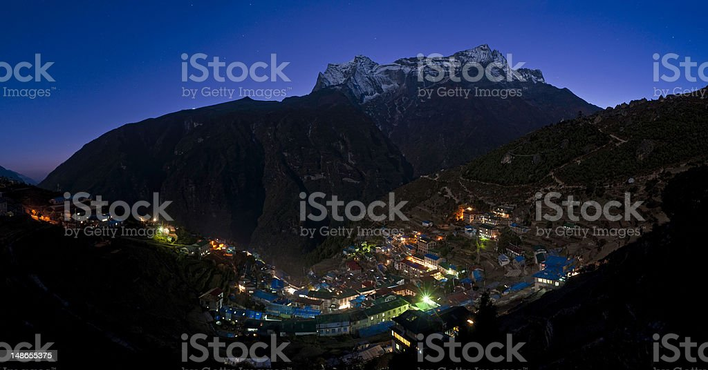 Sherpa village illuminated blue starlight mountains Namche Bazar Himalayas Nepal royalty-free stock photo