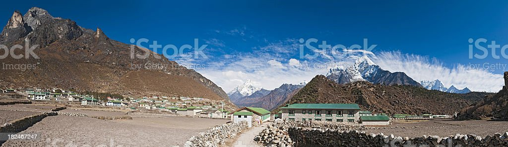 Sherpa village Khumbu valley Himalaya snow mountain peaks panorama Nepal stock photo